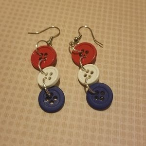 Red, white, and blue button earrings.